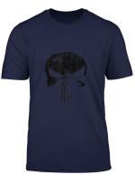 Marvel The Punisher Black Ink Splatter Skull Logo T Shirt