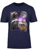 Sloth Shirt Drei Faultiere Mond Parodie Wolf Meme Hemd
