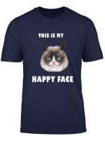 This Is My Happy Face T Shirt Funny Grumpy Kitty Face Gift