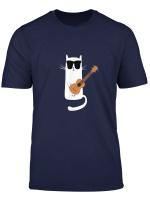 Funny Cat Wearing Sunglasses Playing Ukulele T Shirt