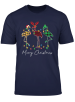 Flamingo Santa Hat Reindeer Horns Xmas Light Merry Christmas T Shirt