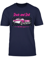 1950S Fifties Retro Rock And Roll Vintage Pink Car T Shirt