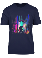 Bigfoot Ufo Abduction Northern Lights T Shirt For Believers