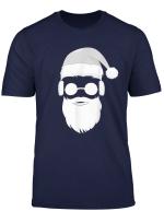 Cooler Hipster Weihnachtsmann Bart Sonnenbrille Kopfhorer T Shirt