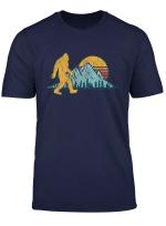 Retro Bigfoot Silhouette Mountain Sun T Shirt Believe