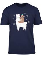 Sloth Riding Lama Lustiges Weihnachten Shirt Schal Weihnacht