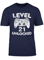 Level 21 Unlocked T Shirt 21St Video Gamer Birthday Gift