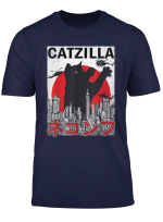 Vintage Catzilla Japanese Sunset Style Cat Kitten Lover T Shirt