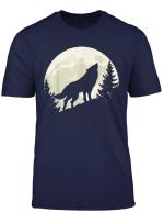 Heulender Wolf Vollmond Wald Nacht T Shirt