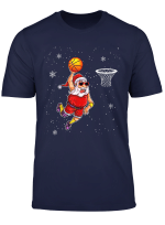 Funny Basketball Santa Tshirt Christmas Hat Ball Sport T Shirt