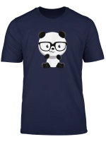 Cute Little Bear Panda Nerd With Glasses Funny T Shirt Gifts