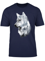 Double Exposure Wolf Wolves Lover Gift Artsy Animal Wildlife T Shirt