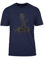 Microphone Tree Roots Musiksanger Band Skizze T Shirt