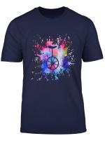 Einrad Bike T Shirt Farbklecks Tee
