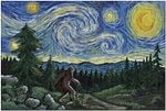 Van Gogh Starry Night Bigfoot Poster And Canvas