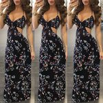 Backless Sleeveless V-Neck Slim Floral Print Halter Floor-Length Dress