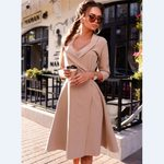 A-line Office s Vestidos  Pure Color  Sexy V-neck Full Sleeve Party Dress