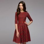 A-line  Vintage printing party  Sleeve Dress
