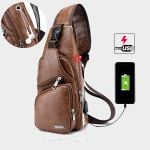 New Chest Bag Charging Crossbody Leather Shoulder