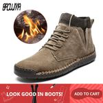Brand Snow Boots Plush Warm  Motorcycle Boots Lace-Up Non-slip