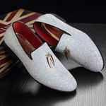 Plus Size White Italian Glitter Loafers Sequin Shoes Pointed