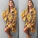 Floral Cotton New Spring Floral Long Sleeve Loose Party Boho Mini Dress