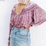 purple floral blouse V-neck tassel tied chic long Sleeve blouse shirt