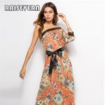 Long Maxi One Shoulder Long Sleeve Floral Print Boho Beach Dress