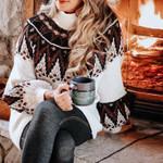 Boho Geometric print sweater Casual turtleneck Pullovers vestidos