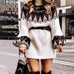Casual turtle neck pullover sweaters Geometric print vintage dress