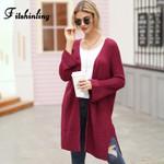Fitshinling Boho Long Cardigan Coat Solid Slim Side Split Knitted Jacket