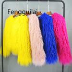 Colorful Boho Furry Faux Fur Coat Plus Size Fur Coats