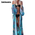 Maxi Blue Floral Chiffon Kimono Long Sleeve Blouse Boho Bohemian