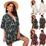 New Long Blouse Fashion Kimono Cardigan Boho Beach Floral Half Sleeve