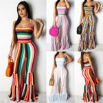 Boho Striped Wide Legs Jumpsuit Bodycon Sexy Strappy