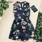 Floral Short Jumpsuit Sleeveless V Neck Suit Collar Tunic