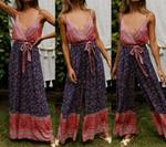 Fashion Boho Jumpsuit Sleeveless Lady Backless V Neck Playsuit Party