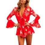 Boho floral jumpsuits long flare sleeve Deep