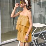 Boho Outfits Solid Ruffles Top And Shorts Sleeveless Elastic