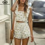 Sexy Sleeveless Short Blouse Beach Set Ladies Suit
