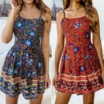Boho Floral Mini Jumpsuit Romper  Holiday Party Shorts