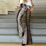 Boho Printing Flared Trousers Hippie High Waist Printed