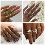 Set Bohemian Crystal Finger Ring Set Gold Color Flower Geometric