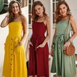 Casual Sundress beach Sexy Midi Vintage Vestidos Backless Straps Dresses