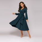 Long Sleeve Sexy V neck Solid Casual A-line Party Dress