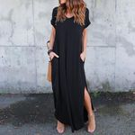 Sexy Plus Size Solid Casual Short Sleeve Maxi Dress