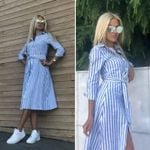 Casual Blue Striped Sashes Long Sleeve Turn-Down Collar A-line Party Dress