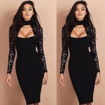 Bandage Bodycon Slim Long Sleeve Lace Party Sexy Pencil Dresses