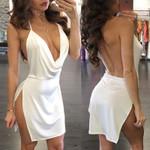 Hot Sexy Backless V Neck Halter Satin Evening Party Bandage Bodycon  Dress