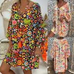 Vintage Floral Print Deep V Neck Dresses Boho Hippie Flowers Beach